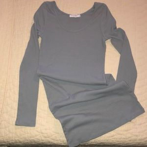 Long sleeve fitted ribbed dress